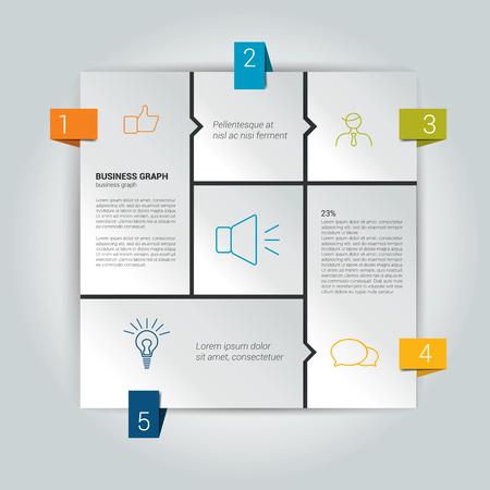 flujo: Diagrama de caja de la infografía. Plantilla de diagrama Web. Esquema del vector. Vectores