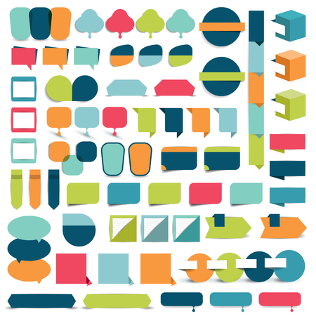 bubble speech: Mega collections of flat infographics design elements, buttons, stickers, note papers, pointers. Vector illustration.