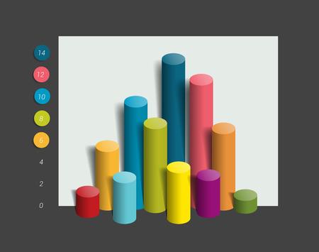 3D colummn chart, graph. Simply editable color. Infographics elements.