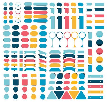 평면 infographics입니다 디자인 요소, 버튼, 스티커, 참고 논문, 포인터의 메가 컬렉션. 벡터 일러스트 레이 션.