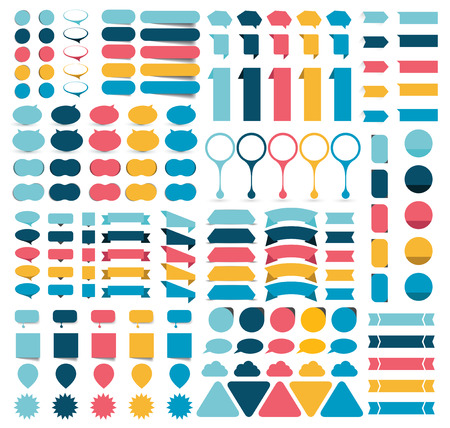 caption: Mega collections of flat infographics design elements, buttons, stickers, note papers, pointers. Vector illustration.
