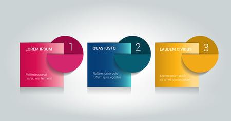 3 の手順チュートリアル矢印、グラフ、図。1、2、3 の概念。
