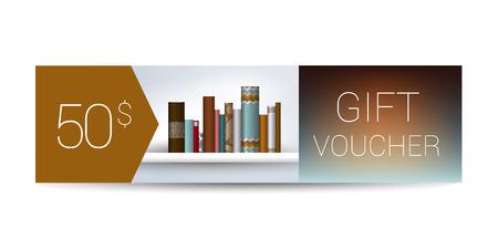 bank book: Excllusive Book store gift voucher template. Simply modern design. Book shelf design.