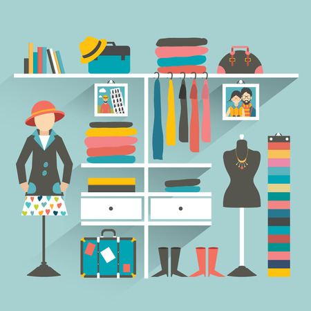 apparel: Clothing store. Boutique indoor. Flat design vector illustration.