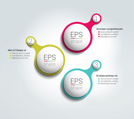 data centers: 3 Round shape step by step template. Simply color scheme, diagram. Illustration