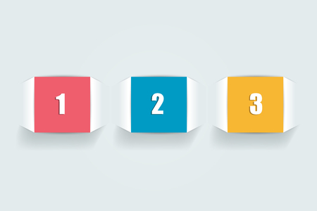 3 Steps tutorial arrow, chart, diagram. One, two, three concept.