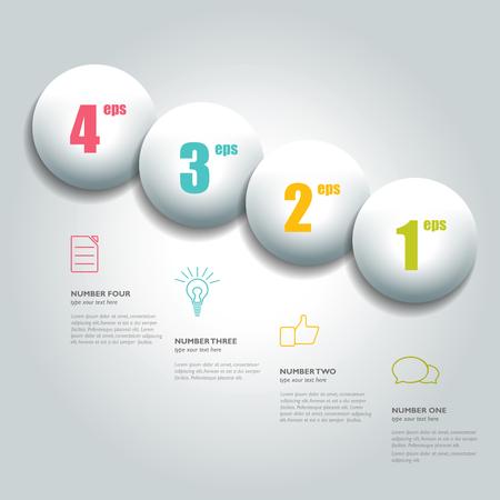 Four steps acircle scheme, chart, diagram module. Illustration