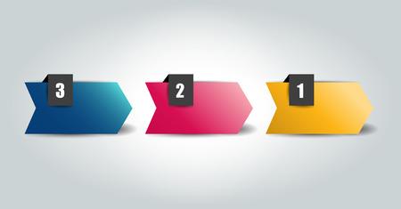 3 단계 튜토리얼 화살표, 차트, 다이어그램. 하나, 둘, 셋 개념입니다. 일러스트
