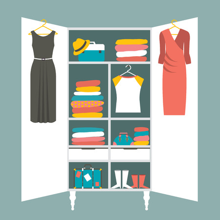 Wardrobe indoor. Flat design vector illustration. Stock Illustratie