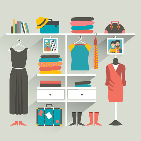 clothing store: Clothing store. Boutique indoor. Flat design vector illustration.