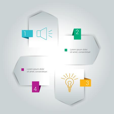 esquema: Cuatro pasos flecha esquema, diagrama, diagrama del módulo. Vectores