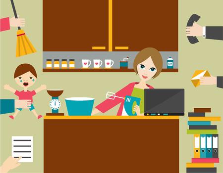 Besetzt Multitasking Frau, Mutter Verwaltung der Spiele funktionieren mit einem Lächeln. Standard-Bild - 45320235