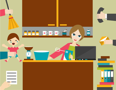 house wife: Busy multitask woman, mother managing the games work with smile.