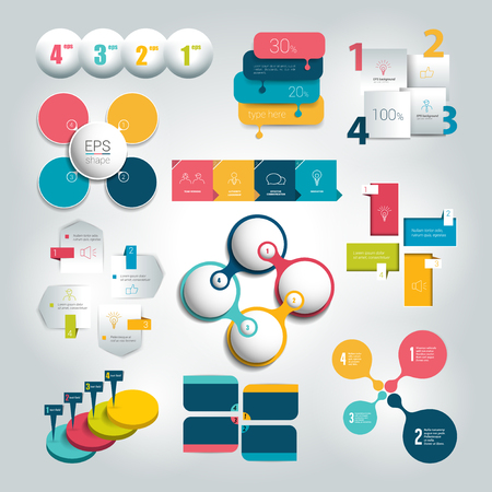 Big set of round steps 4 diagram, graph, chart, flowchart, banner template. Vector.