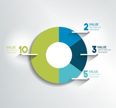 ラウンド、円グラフ、グラフ。単に編集可能な色。インフォ グラフィックの要素。