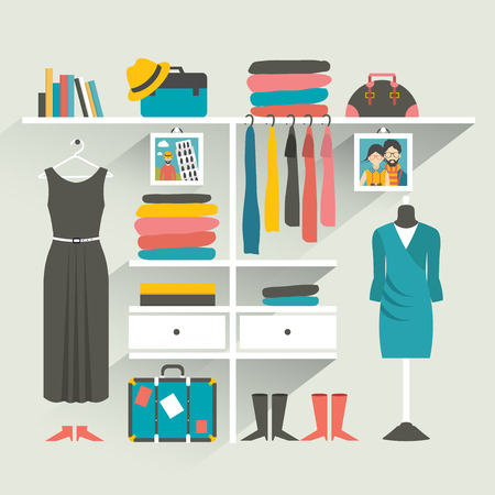 woman closet: Clothing store. Boutique indoor. Flat design vector illustration.