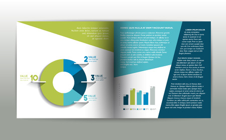 book style: Booklet page. Magazine layout for infographics. Web template.