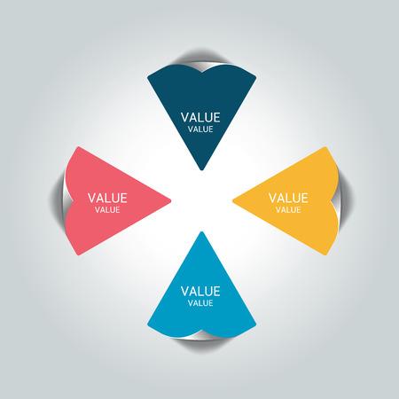 modules: Four steps arrow scheme, chart, diagram module.