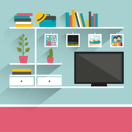 living room wall: Living room with television and book shelves. Flat design vector illustration. Illustration