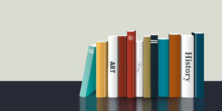 옥내의: Book shelf. Realistic 3D Vector illustration. Color design. Bookstore indoor.