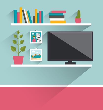 desk: Living room interior. Tv and book shelves. Flat design vector illustration.