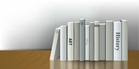 book shelf: Book shelf. Realistic 3D Vector illustration. White, gray design. Bookstore indoor.