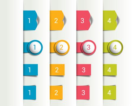 bookmarks: Set of 3D colorful bookmarks, vertical divide. Vector.