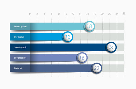 Flat chart, graph. Simply blue color editable. Infographics elements.  イラスト・ベクター素材