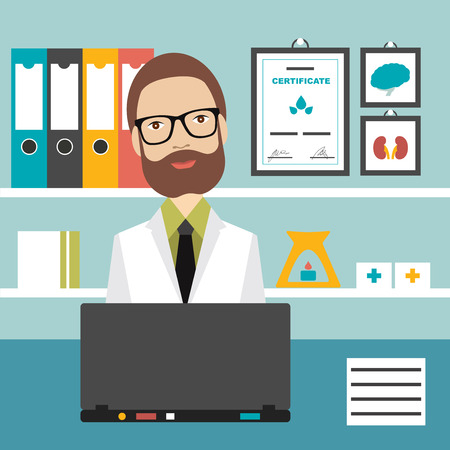 doctors and patient: Doctor office workplace. Flat vector illustration.