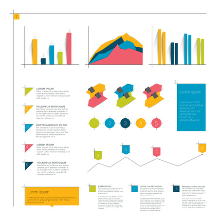 arow: Infographics flat elements. Folder with diagrams, speech bubbles, arrows, time and line charts.