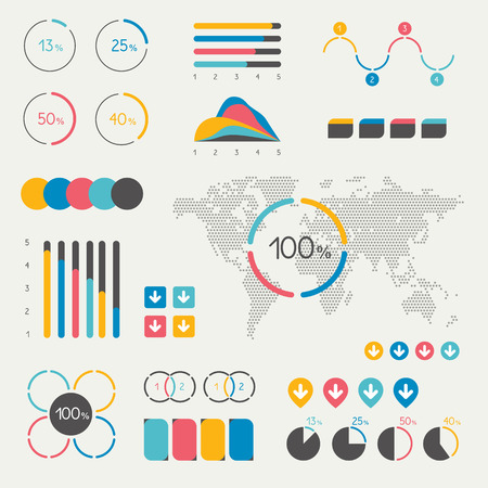 color charts: Set of infographics elements. Chart, graph, timeline, speech bubble, pie chart, map. Colorful set template.