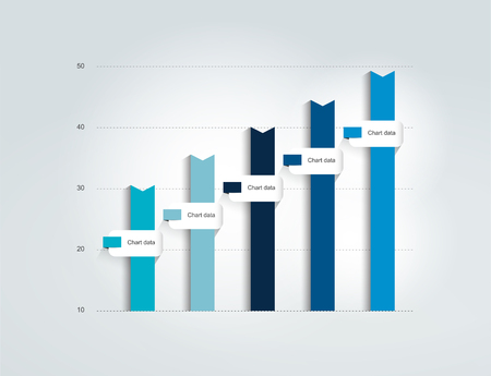 Blue Flat chart, graph. Simply editable color. Infographics elements.  イラスト・ベクター素材