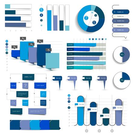 차트, 그래프, 플로우 차트의 컬렉션입니다. 푸른 색에 infographics입니다.