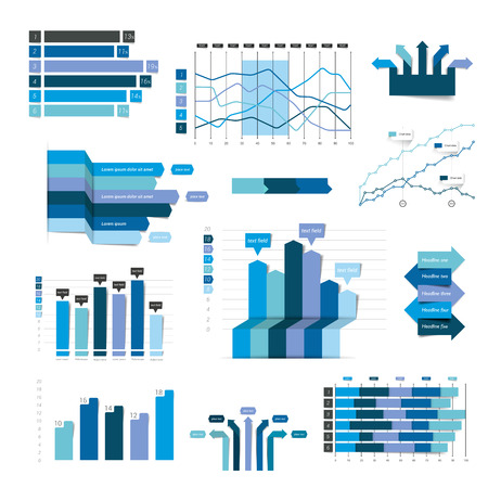 Set of flat business, 3D design graph. Blue Infographics charts.
