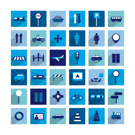 web design bridge: Collection of modern flat shadow icon. Traffic and transport sign.