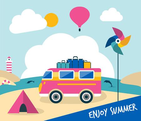 Summer holiday cartoon illustration. Retro bus travel concept. Vector background.