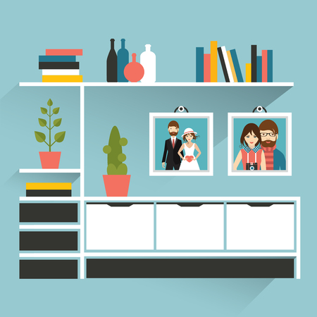 cactus: Living room with photo pictures and book shelves. Flat design vector illustration. Illustration