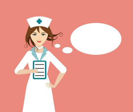 baloon입니다 얘기 아름 다운 젊은 간호사. 플랫 디자인.
