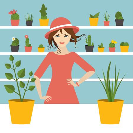 Fleuriste femme d'affaires en fleur magasin. Design plat. Vecteurs