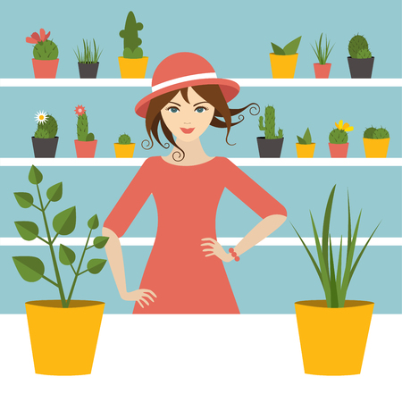 Florist sales woman in flower store. Flat design. Illustration