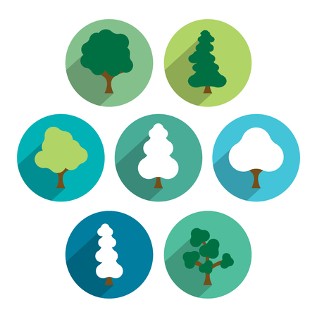 trees illustration: Tree icon set. Simply flat green circle pictograms.