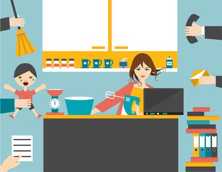 Besetzt Multitasking Frau, Mutter Verwaltung der Spiele funktionieren mit einem Lächeln. Standard-Bild - 47339852