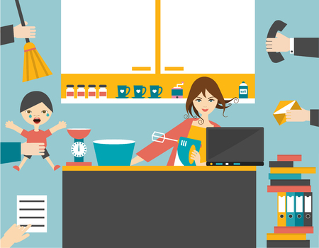 mom's house: Busy multitask woman, mother managing the games work with smile.