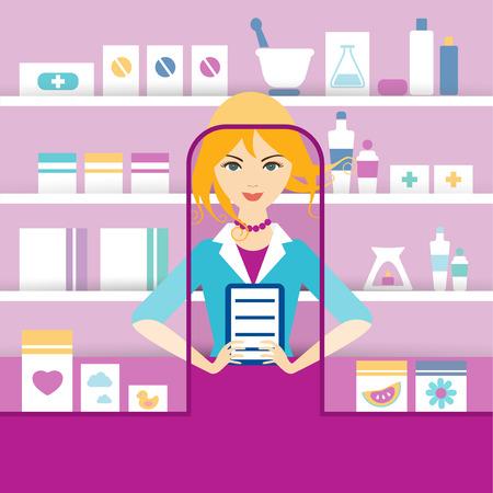 chemist: Young blonde pharmacy chemist girl standing in drugstore. Flat vector.