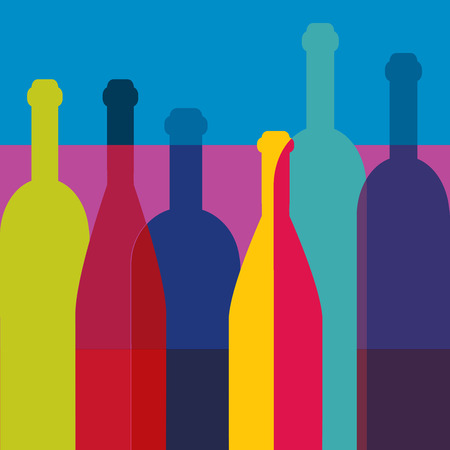 Wine bottles Art background. Wine restaurant concept. Vector.