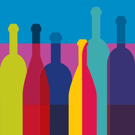 bottle wine: Wine bottles Art background. Wine restaurant concept. Vector.