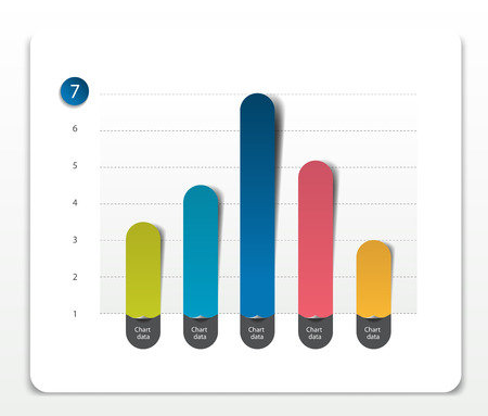 comparing: Column chart, graph pointing on the first position comparing with the others. Simply editable color. Infographics elements. Illustration