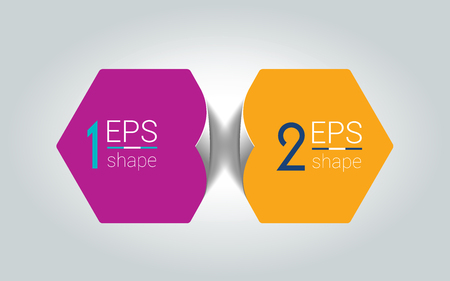 Two business elements banner. 2 steps design, chart, infographic, step by step number option, layout. 3D cyrcle style. Vettoriali
