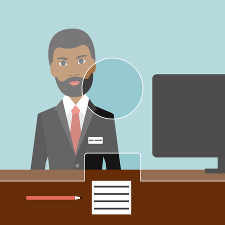 a bank employee: Black man man clerk in a bank. Flat vector.