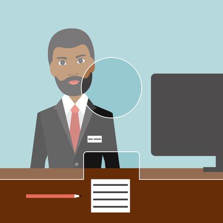 Black man man clerk in a bank. Flat vector.